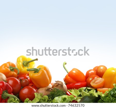 Different fresh tasty vegetables isolated fractal - stock photo