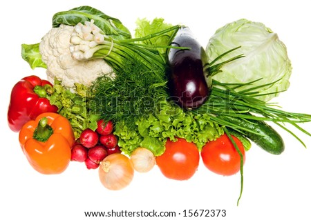 Different fresh tasty vegetables isolated on white - stock photo