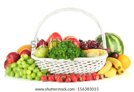 Different fruits and vegetables isolated on white