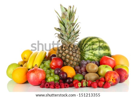 Different fruits isolated on white - stock photo
