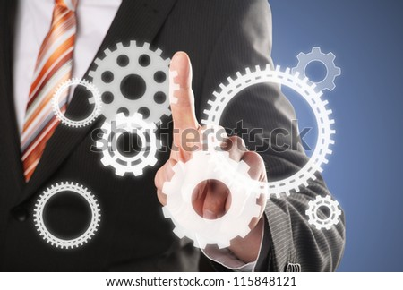 different gears, concept for businessman is the driving force - stock photo