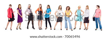 Different girls stand on a white background - stock photo