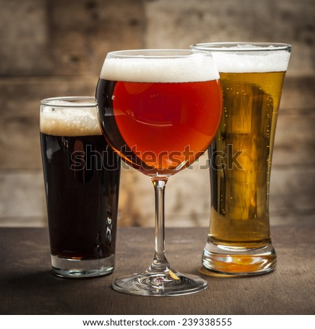 Different glasses of beer - stock photo