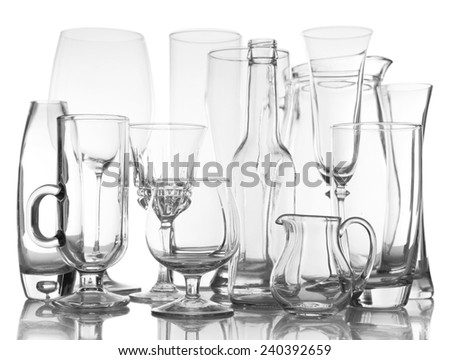 Different glassware isolated on white - stock photo