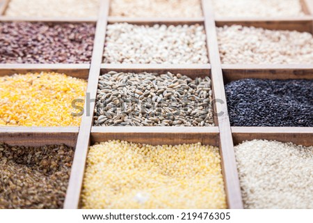 different grain food on box container - stock photo