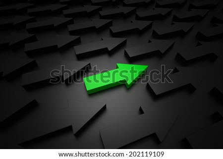 Different green arrow - stock photo