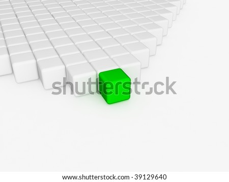 different green cube