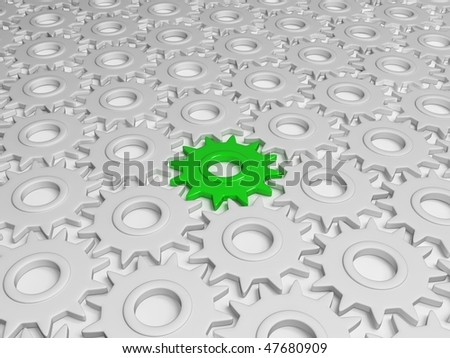 Different green gear - stock photo