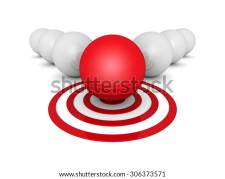 Different Green Sphere On Target Out From Whites. Individual Business Leadership Success Concept 3d Render Illustraition - stock photo