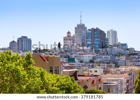 Different houses in San Francisco on the hill - stock photo