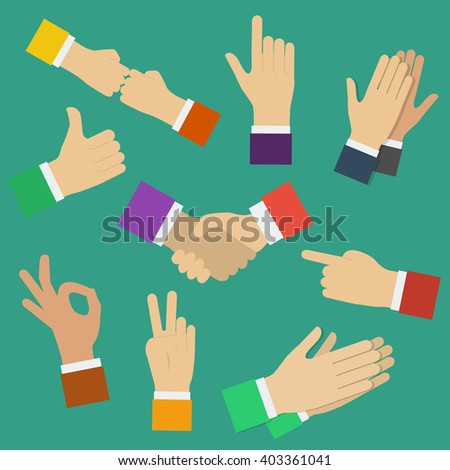 Different human hands. Minimal flat  illustration of various positions of hands. Hands showing different gestures.   - stock photo
