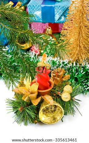 different image of beautiful Christmas decorations and Christmas tree closeup
