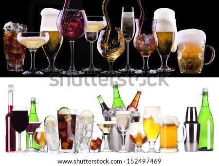 different images of alcohol  - beer, martini, cola, champagne, wine, juice, scotch, whiskey - stock photo