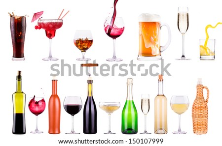 different images of alcohol isolated - beer,martini,cola,champagne,wine,juice