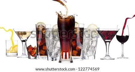 different images of alcohol isolated - martini,soda,whiskey,juice,wine