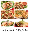 different images of various Mexican food dishes like burritos, tacos,nachos,guacamole, and fajitas - stock photo