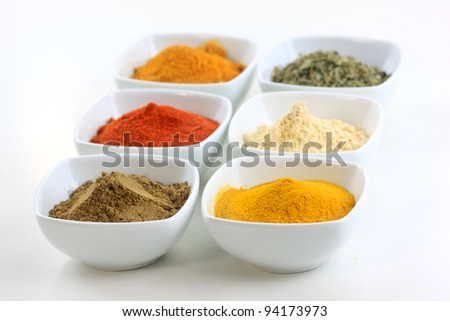 Different Indian spices on bowls against white background - stock photo