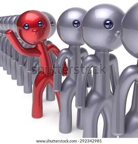 Different individuality man stand out from the crowd character people unique red think differ person otherwise hello to new opportunities concept human resources hr icon. 3d render isolated - stock photo