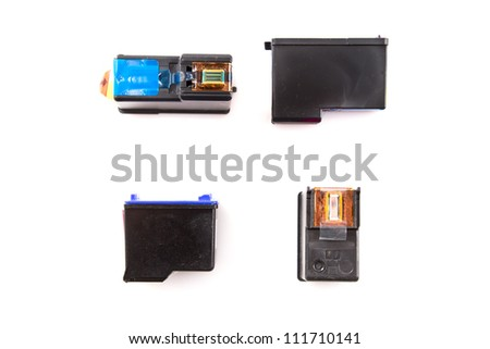 different Ink Cartridges on White Background - stock photo
