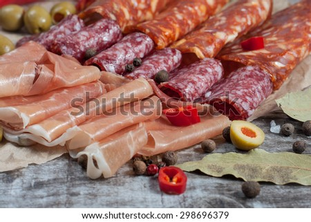 Different Italian ham and salami with herbs, olives and spices