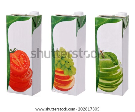 different juices packs isolated on white - stock photo