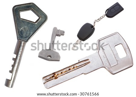Different keys under the white background - stock photo
