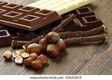 different kind of chocolate with ingredients - stock photo