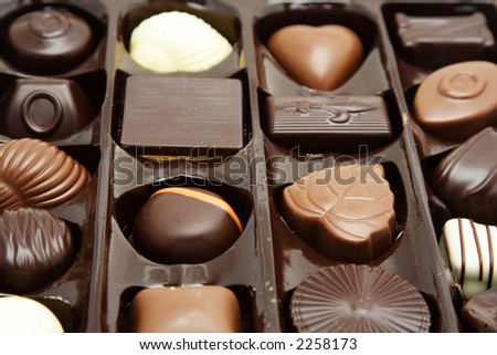Different kind of chocolates in a box
