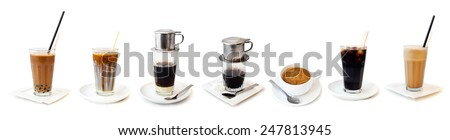 Different kind of coffee and tea collection isolated on a white background: vietnamese percolated coffee, small americana coffee, bubble tea, latte macchiato in row in high transparent glasses.  - stock photo