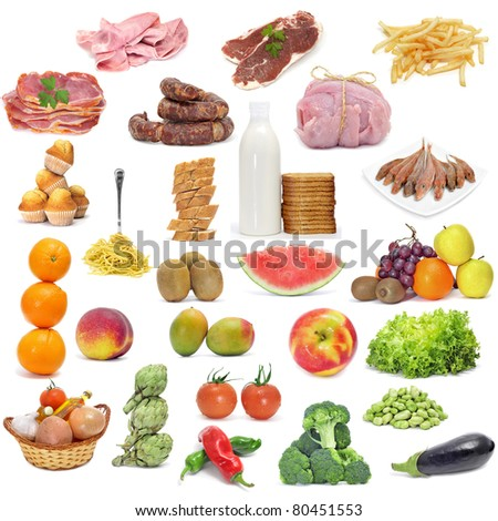 different kind of food from a varied diet - stock photo