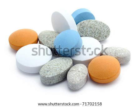 Different kind of food supplements isolates on white background - stock photo