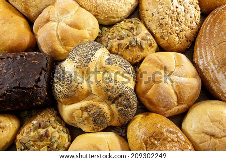 Different kind of freshly baked bread - stock photo