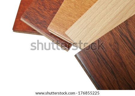 different kind of hardwood flooring samples with copy space - stock photo