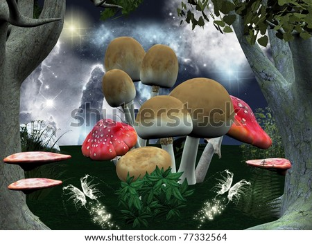 Different kind of mushrooms in a fantasy forest scenery