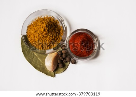 Different kind of spices isolated on white background - stock photo