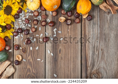 Different kinds of autumn fruits on a wooden table. - stock photo