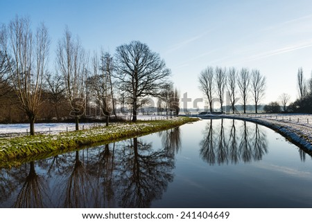 Different kinds of bare trees reflected in the mirror like water surface of a small river with snow on the banks. - stock photo