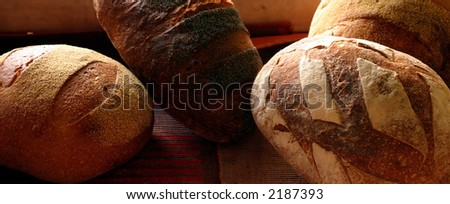 Different kinds of bread in the bakery - stock photo