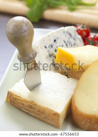 different kinds of cheese in a plate