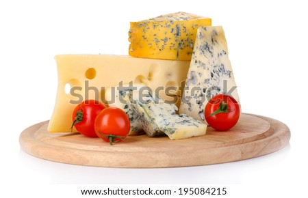 Different kinds of cheese isolated on white - stock photo