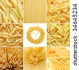 different kinds of italian pasta. Food collage - stock photo