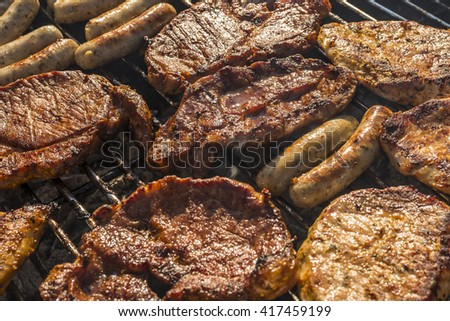 different kinds of meat and sausages on a barbecue grill on a sunny summer day - stock photo