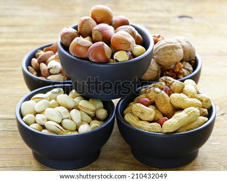 different kinds of nuts (almonds, walnuts, hazelnuts, peanuts) in a bowl on a wooden table - stock photo