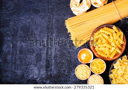 Different kinds of pasta background - stock photo