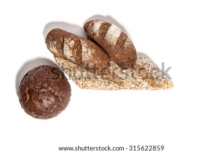 Different  kinds of  rye bread  isolated on white - stock photo