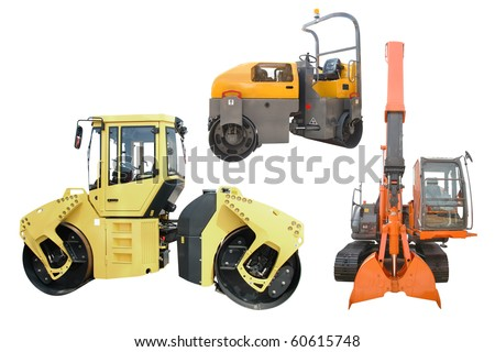 different kinds of special machines under the white background - stock photo