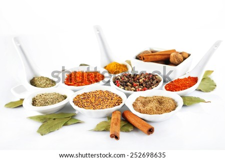 Different kinds of spices in ceramics bowls and spoons isolated on white - stock photo