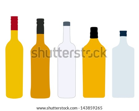 Different Kinds of Spirits Bottles Without Labels - stock photo