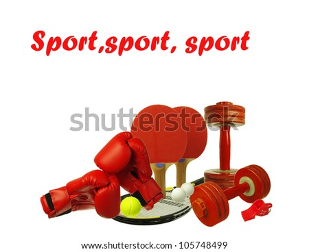 Different kinds of sport equipment.White background. Your text