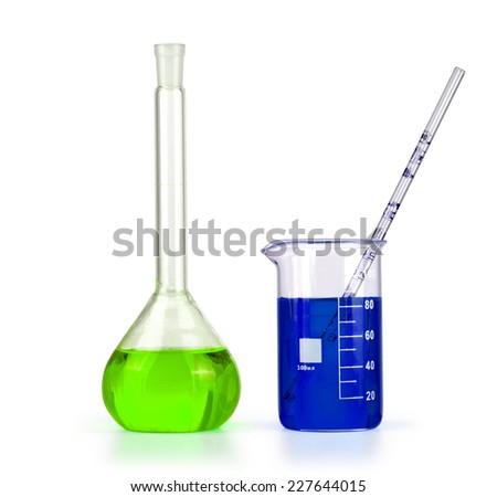 Different laboratory glassware with colored liquid isolated over white background - stock photo